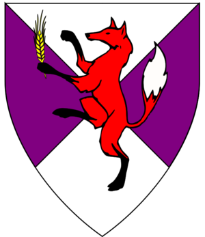 Per Saltire Purpure and Argent, a Fox Proper Maintaining an Ear of Barley Or2.png